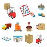 Logistik- und Lieferungskarikaturikonen in der Satzsammlung für Design Transport und Vektorsymbolvorrat der Ausrüstung isometrisc Lizenzfreie Stockbilder