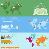 Logistik- und Transportkommunikation, Lieferung von Waren, Vektorfahnen Stockfotos