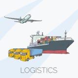 Logistik unterzeichnen mit Fläche, LKW, Behälter und Schiff Stockbilder