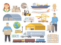 Logistik vector flache Ikonen Stockfoto