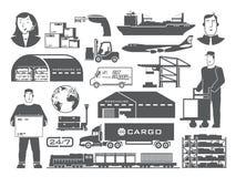 Logistik vector Schwarzweiss-Ikonen Stockfotografie