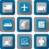 Logistik-Versand-Ikonen-Designsatz Lizenzfreies Stockfoto