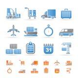 Logistik-, Verschiffen- und Transportikonen Stockbild