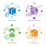 Logistikdesignlinje symbolsuppsättning Royaltyfria Bilder