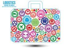 Logistiken servar runt om världen designbegrepp Arkivbild