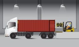 Logistiker warehouse, och päfyllningsskeppsdockan, gummi rullar transportati vektor illustrationer