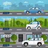 Logistikhorisontalreklamblad med bilen på vägen vektor illustrationer