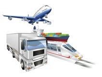 Logistikkonzeptflugzeug-LKW-SerienFrachtschiff stock abbildung