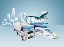 Logistikstadsaffärsidé stock illustrationer