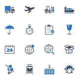Logistiksymboler - blåttserie Arkivbilder