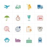 Logistiksymboler - kulör serie Arkivbild