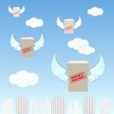 Logistikunternehmen, fliegend Kästen mit den Flügeln, über die Stadt, Stockfotos