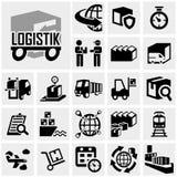 Logistikvektorikone eingestellt auf Grau Stockfotografie