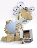 Logistique de transport avec le bourdon Image stock