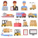 Logistique et icônes décoratives de la livraison réglées illustration de vecteur