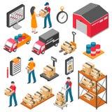 Logistique et icônes isométriques de la livraison réglées illustration libre de droits