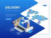 Logistique et livraison isométriques Infographics Maison et bureau de la livraison Logistique de ville Entrepôt, camion, chariot  illustration stock