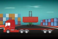 Logistique et transport, conteneur de chargement sur le camion illustration libre de droits