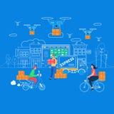 Logistique, maison et bureau Infographics de la livraison illustration libre de droits