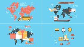 Logistique plate et concepts animés de la livraison illustration libre de droits
