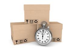 Logistisch concept. Chronometer en dozen royalty-vrije stock foto's
