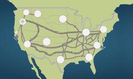 Logistisch de Kaartconcept van de V.S. met punten stock afbeelding