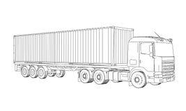 Logistisch door Containervrachtwagen royalty-vrije stock foto
