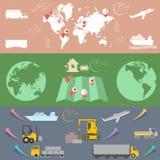 Logistisch en vervoer, Logistische concepten vlakke banners Royalty-vrije Stock Foto