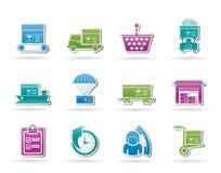 Logistisch, lading en verschepende pictogrammen Stock Fotografie