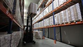 Logistisch pakhuis Producten op de planken stock videobeelden