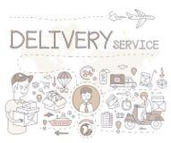 Logistisch schetsconcept met vervoer en het verschepen decoratieve handel Stock Fotografie