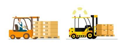 Logistisch Smart Automatische en mens-Gedreven Vorkheftruck royalty-vrije illustratie