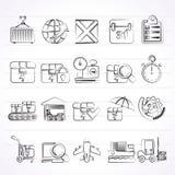 Logistische en verschepende pictogrammen Stock Afbeeldingen