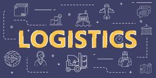 Logistische Entwurfsikonen-Fahnenabdeckung für weltweite Logistik lizenzfreie stockbilder