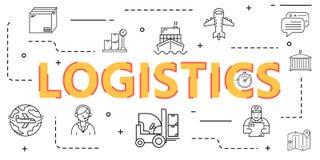 Logistische Entwurfsikonen-Fahnenabdeckung für weltweite Logistik stockfoto