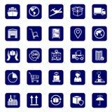 Logistische Firmazeichen Stellen Sie Ikonentransport und -logistik ein Lager- und Versandausrüstung Stockfotografie