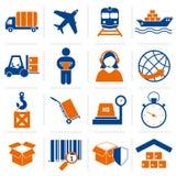Logistische geplaatste pictogrammen Stock Afbeelding