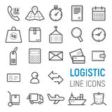 Logistische geplaatste pictogrammen Vector vlakke lijnillustraties stock illustratie
