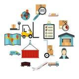 Logistische Ikonen eingestellt, flache Art Stockfoto