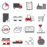 Logistische Ikonen in Rotem und in Grauem Stockfoto