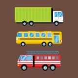 Logistische lokalisierte Vektorillustration des Löschfahrzeugautokarikaturlieferungstransportfrachtbusses Lizenzfreie Stockbilder
