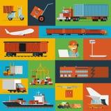 Logistische pictogrammen geplaatst vlak Stock Afbeelding