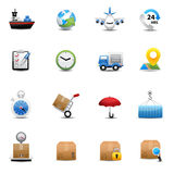 Logistische und Verschiffenikonen Lizenzfreies Stockfoto