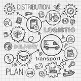 Logistischer Handabgehobener betrag integrierte die eingestellten Ikonen ENV 10 Lizenzfreies Stockbild