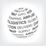 Logistisches Konzept Globales Logistiknetz Kugel mit verschiedenen Vereinigungsausdrücken im Grau Lizenzfreies Stockbild