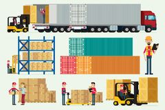 Logistisches Lager mit Speicherarbeitskräften LKW und Gabelstaplerfracht lizenzfreie abbildung