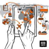 Logistisches Skizzen-Konzept Stockfotografie