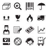 Logistisk & för leveranssymbolsuppsättning för vektor illustration Arkivbild