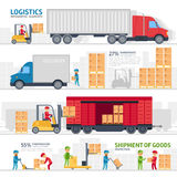 Logistisk infographic beståndsdeluppsättning med transport, leverans, sändnings, gaffeltruck i lagret, lagringspäfyllning stock illustrationer