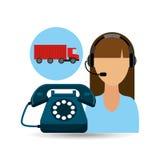 Logistisk leverans för lastbil för call centerkvinnaarbete stock illustrationer